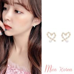 【MISS KOREA】韓國設計S925銀針珍珠愛心氣質耳環