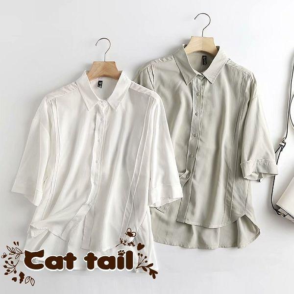 《貓尾巴》BS-02982 韓版木耳邊後面繫帶短袖襯衫(森林系 日系 棉麻 文青 清新)