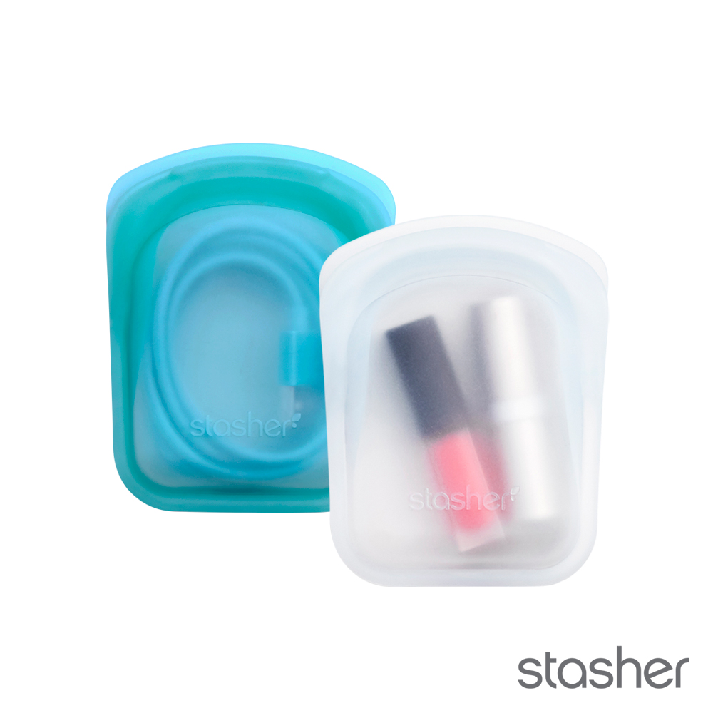 美國Stasher 白金矽膠密封袋-口袋雲霧白、湖水藍(2入) 773STPS2PK00