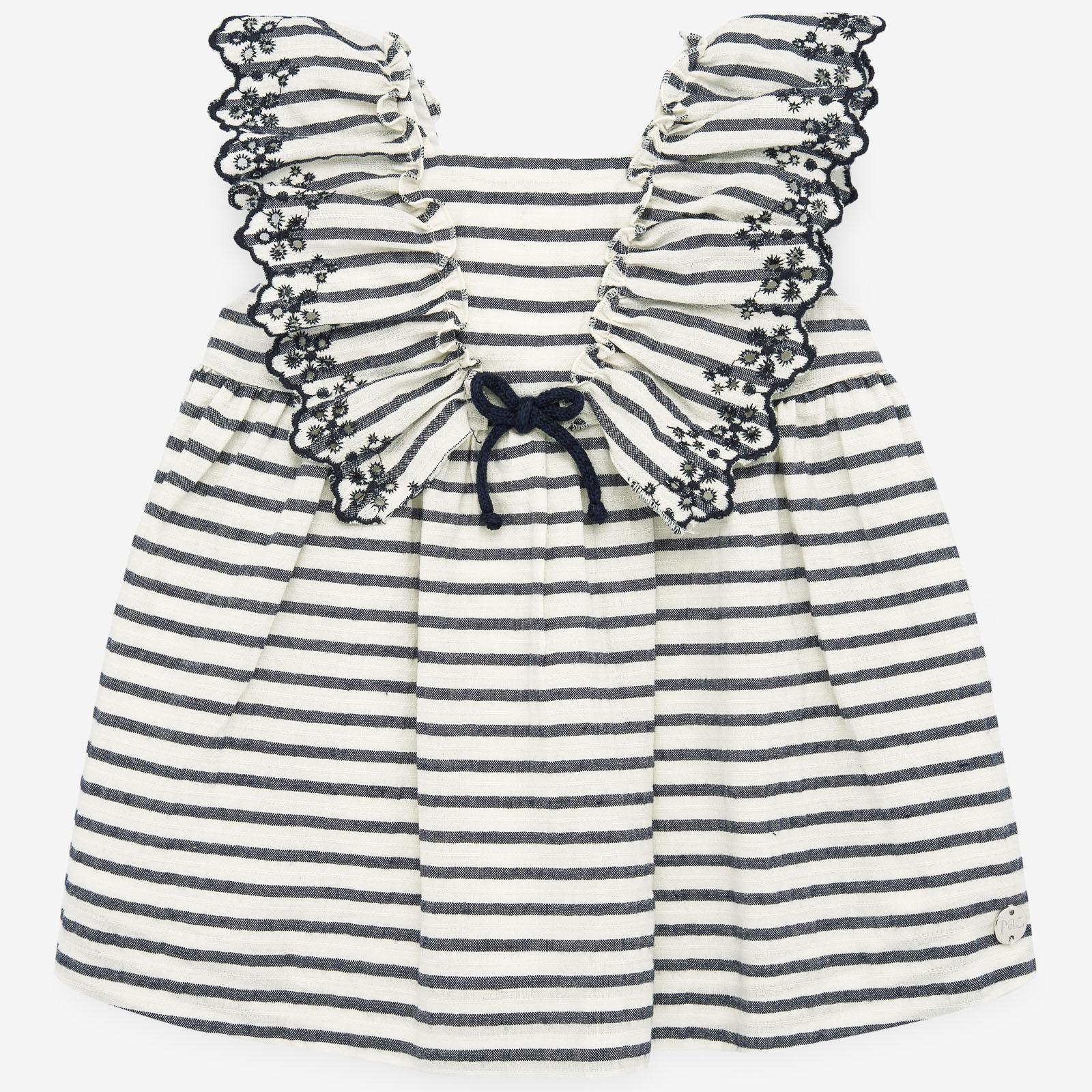 PAZ Rodríguez 西班牙精品童裝 / MILOS 黑白條紋蝴蝶袖洋裝