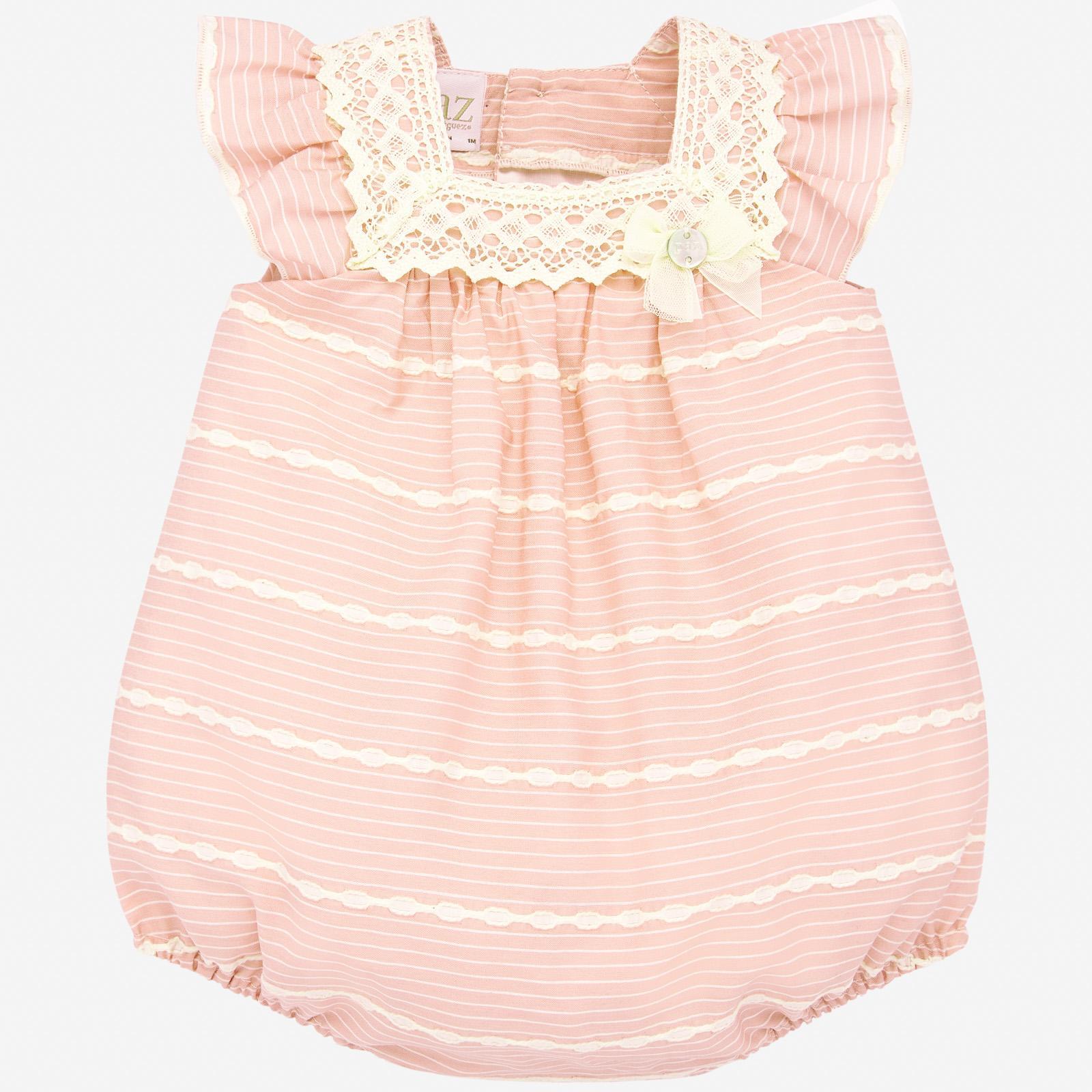 PAZ Rodríguez 西班牙精品童裝 / VERA 粉彩蕾絲荷葉包屁衣