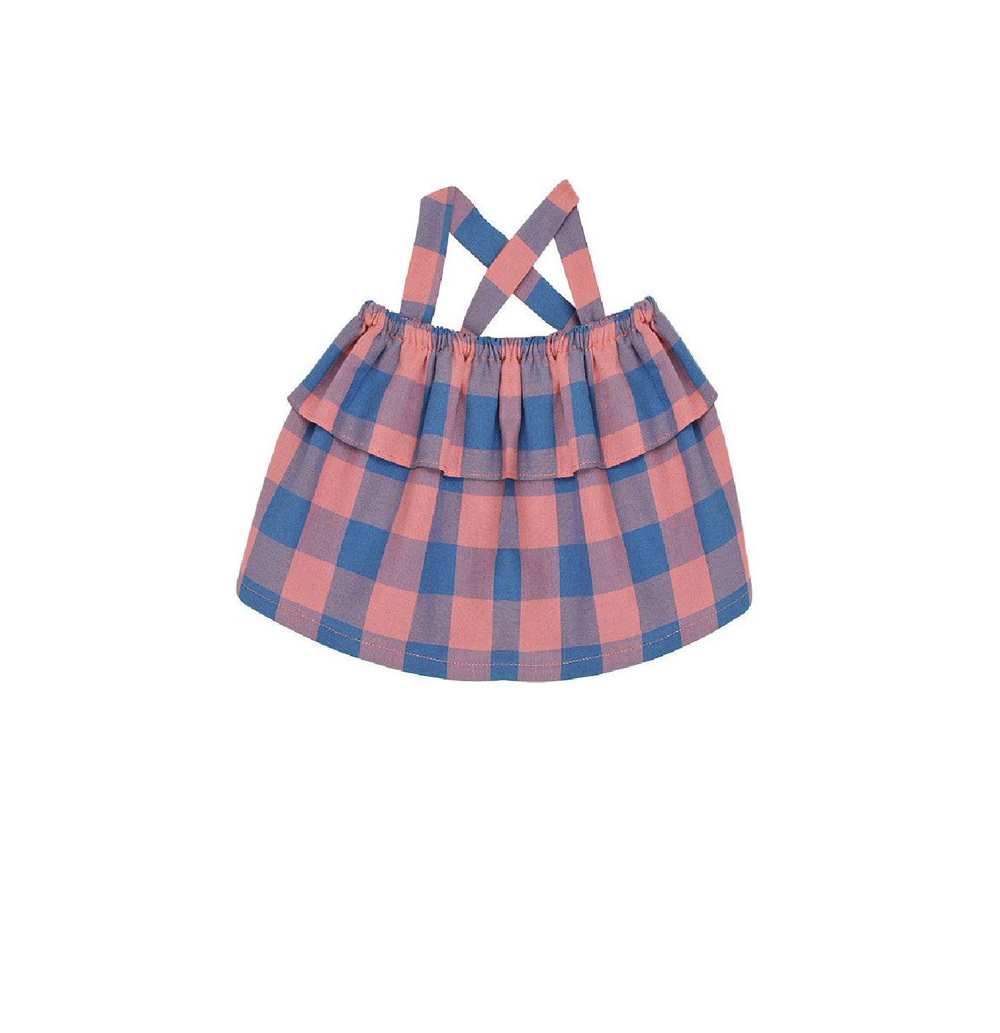 Bonnet à Pompon 西班牙時尚童裝 / 復古格紋吊帶上衣