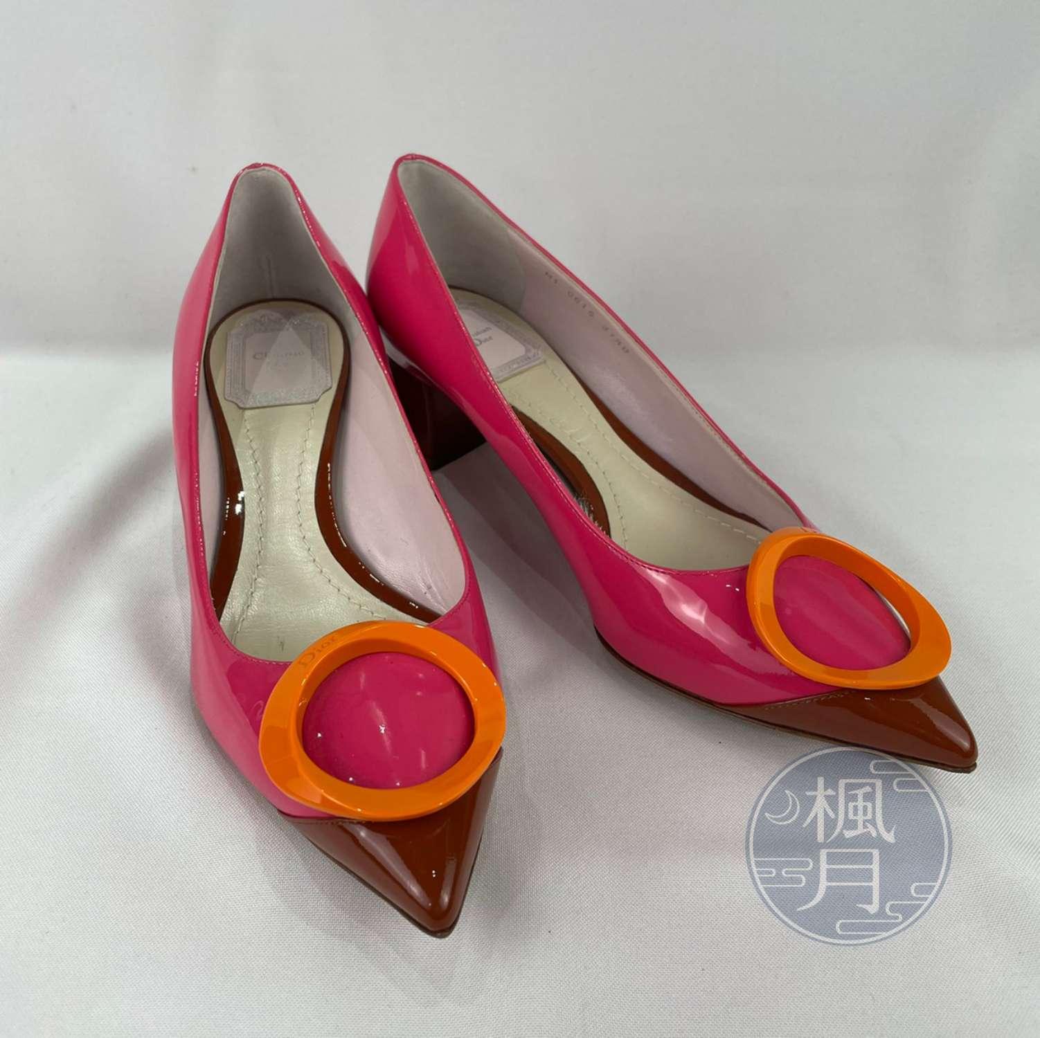 BRAND楓月 Christian Dior 迪奧 粉紅色 芭比粉 橘色O型釦 漆皮 尖頭 高跟鞋 中跟 #37.5