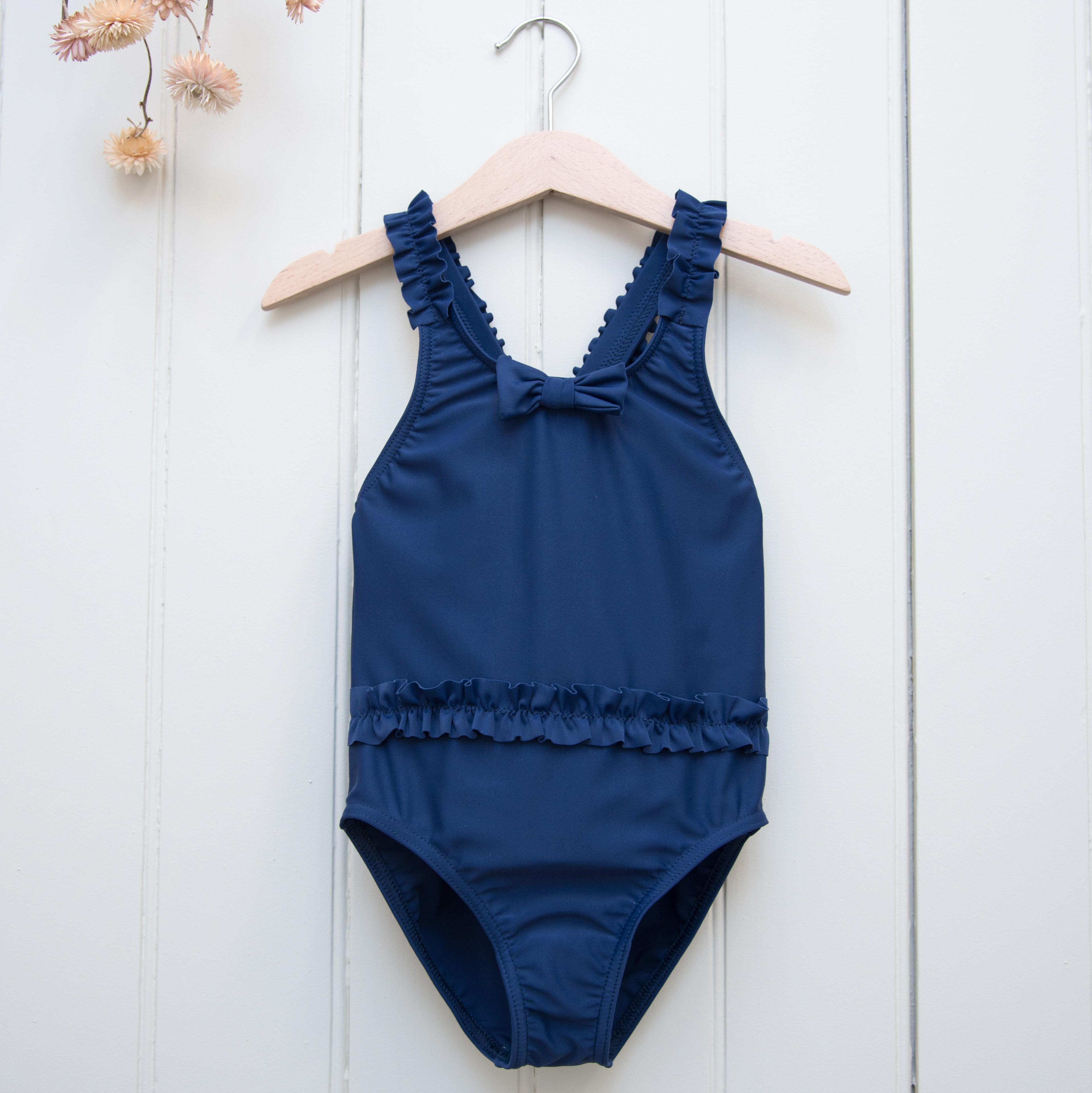 Les Petits Dorés法國時尚泳裝 / LOUISE經典抗UV系列-海藍荷葉泳裝