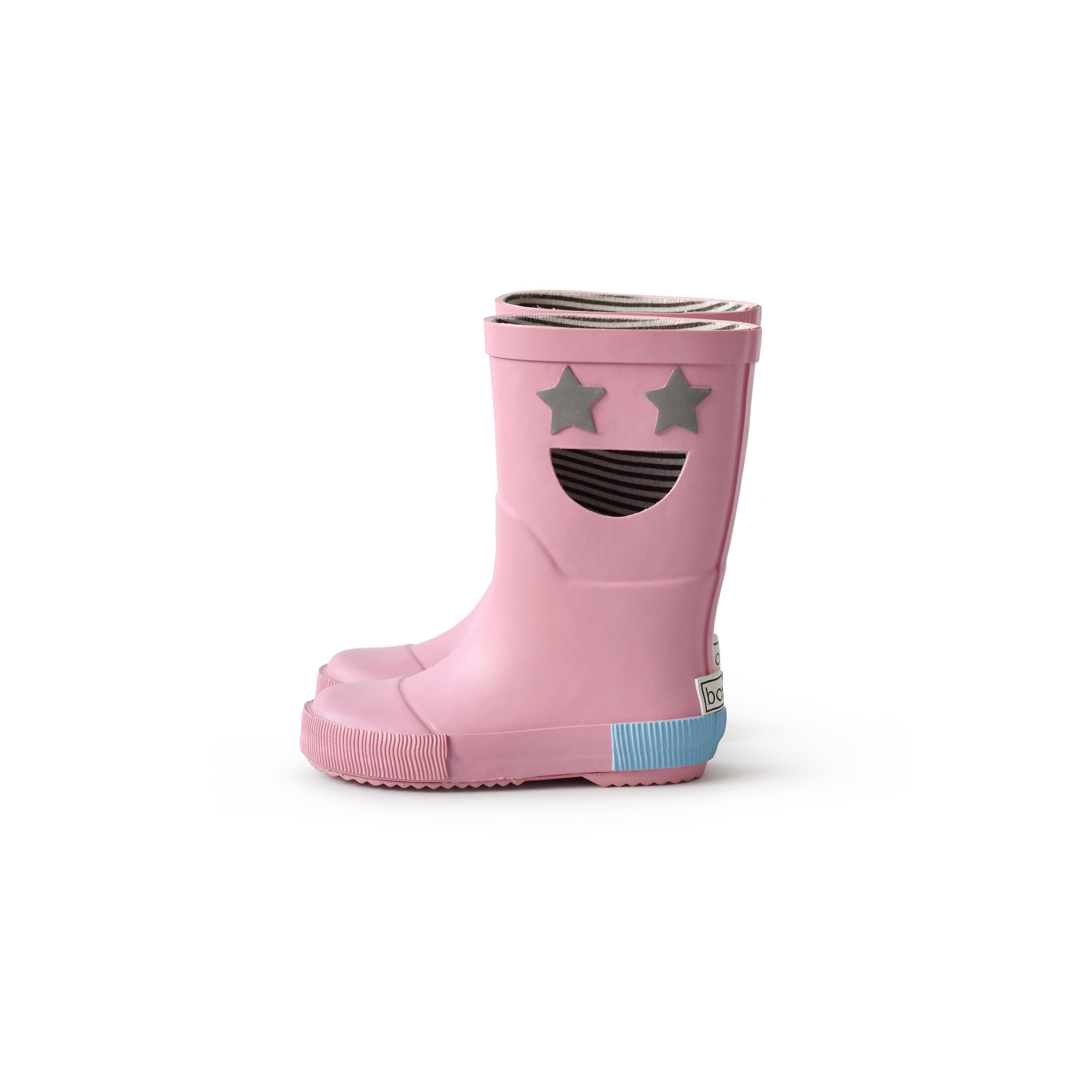 BOXBO 法國時尚雨靴 / 我愛笑瞇瞇系列-蜜糖粉
