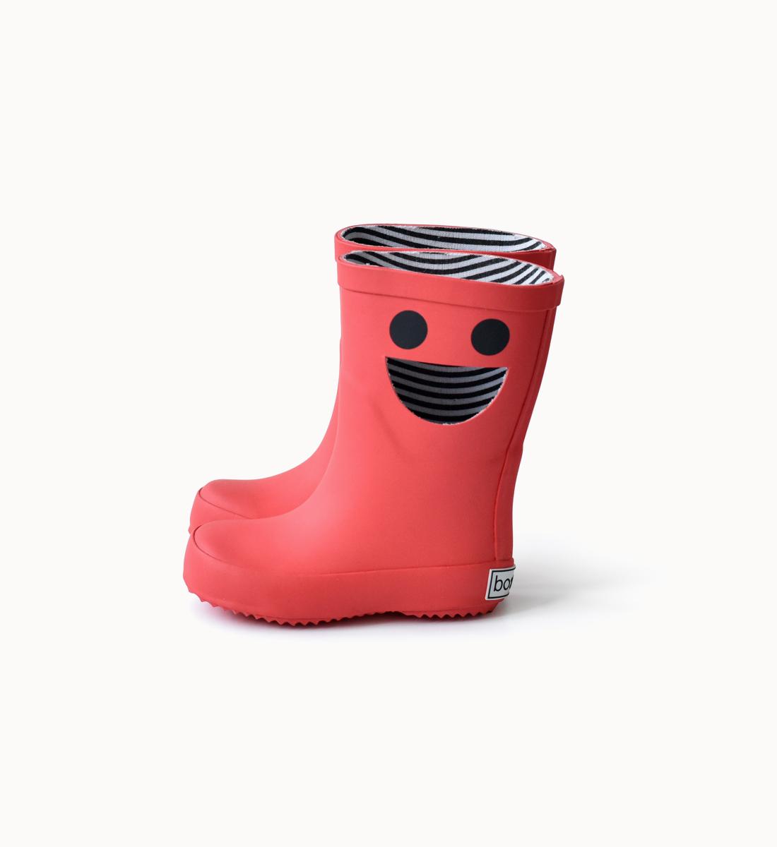 BOXBO 法國時尚雨靴 / 我愛笑瞇瞇系列-豔陽紅