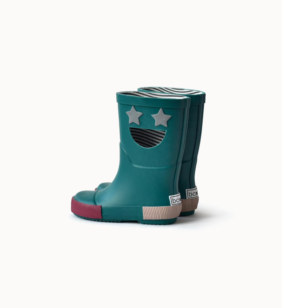 BOXBO 法國時尚雨靴 / 我愛笑瞇瞇系列-星際綠