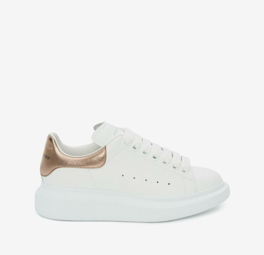 Alexander McQueen經典玫瑰金小白鞋