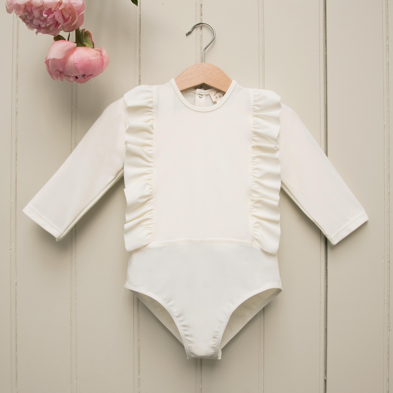 Les Petits Dorés法國時尚泳裝 / OLYMPE 經典抗UV系列-象牙白荷葉長袖洋裝