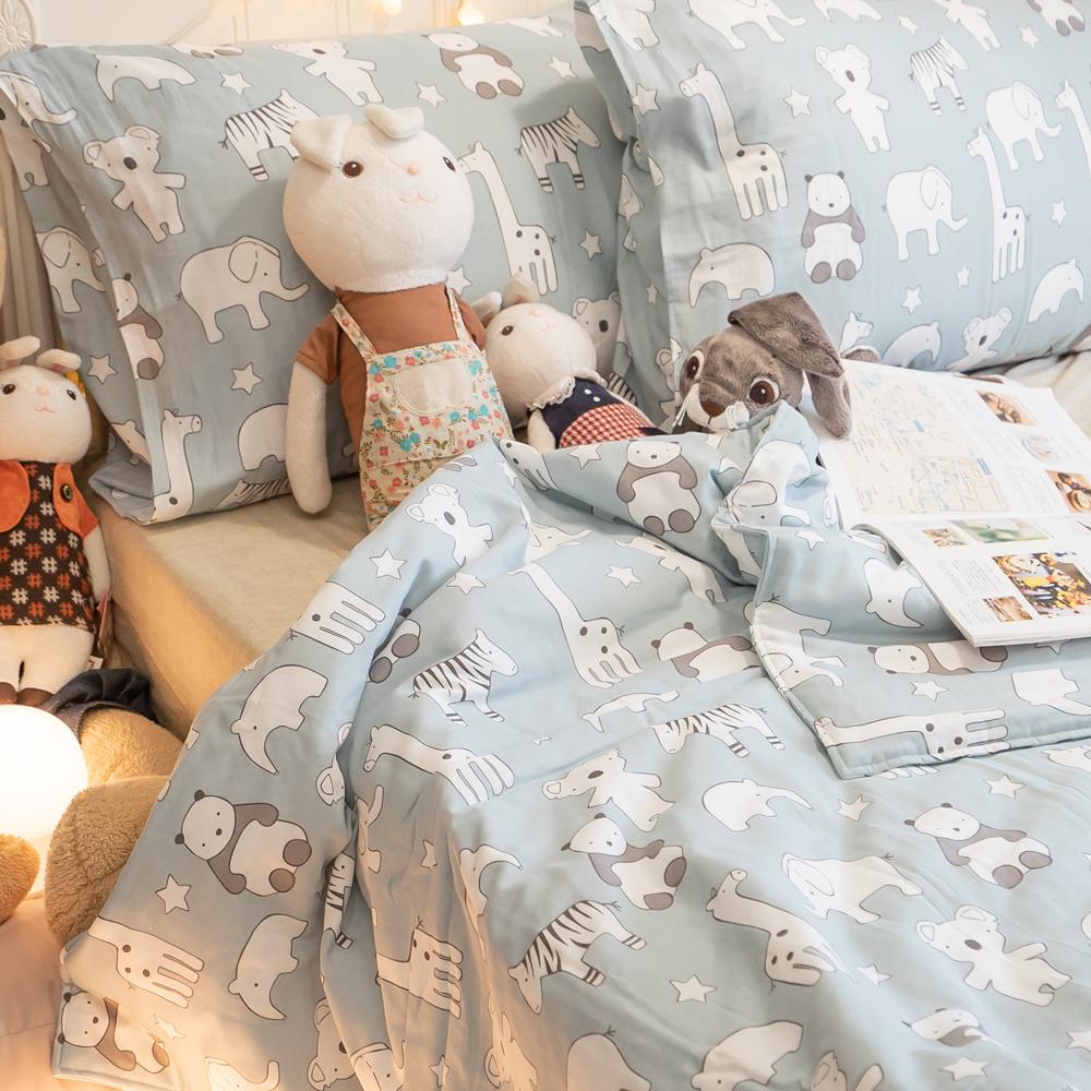 二層紗(100%純棉) 涼被與枕套綜合規格賣場 (藍色熊貓) 內有兒童尺寸可選【棉床本舖】