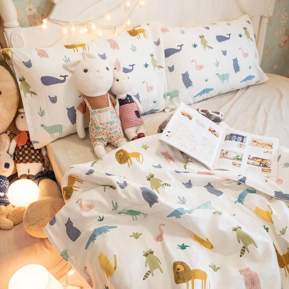 二層紗(100%純棉) 涼被與枕套綜合規格賣場 (童話動物) 內有兒童尺寸可選【棉床本舖】