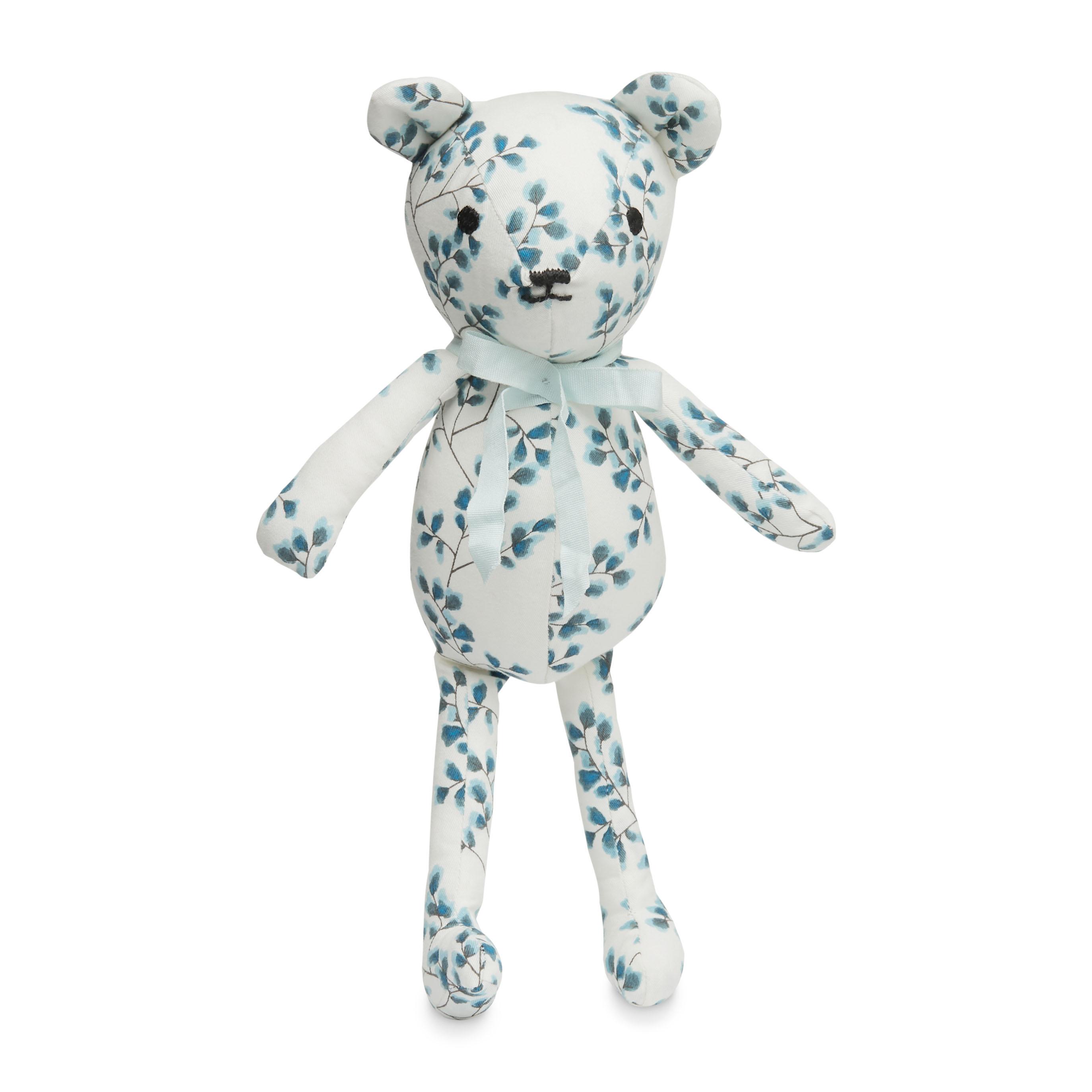 Cam Cam Copenhagen 丹麥有機棉嬰幼兒用品 / 有機棉安撫泰迪熊 - 渲藍花葉