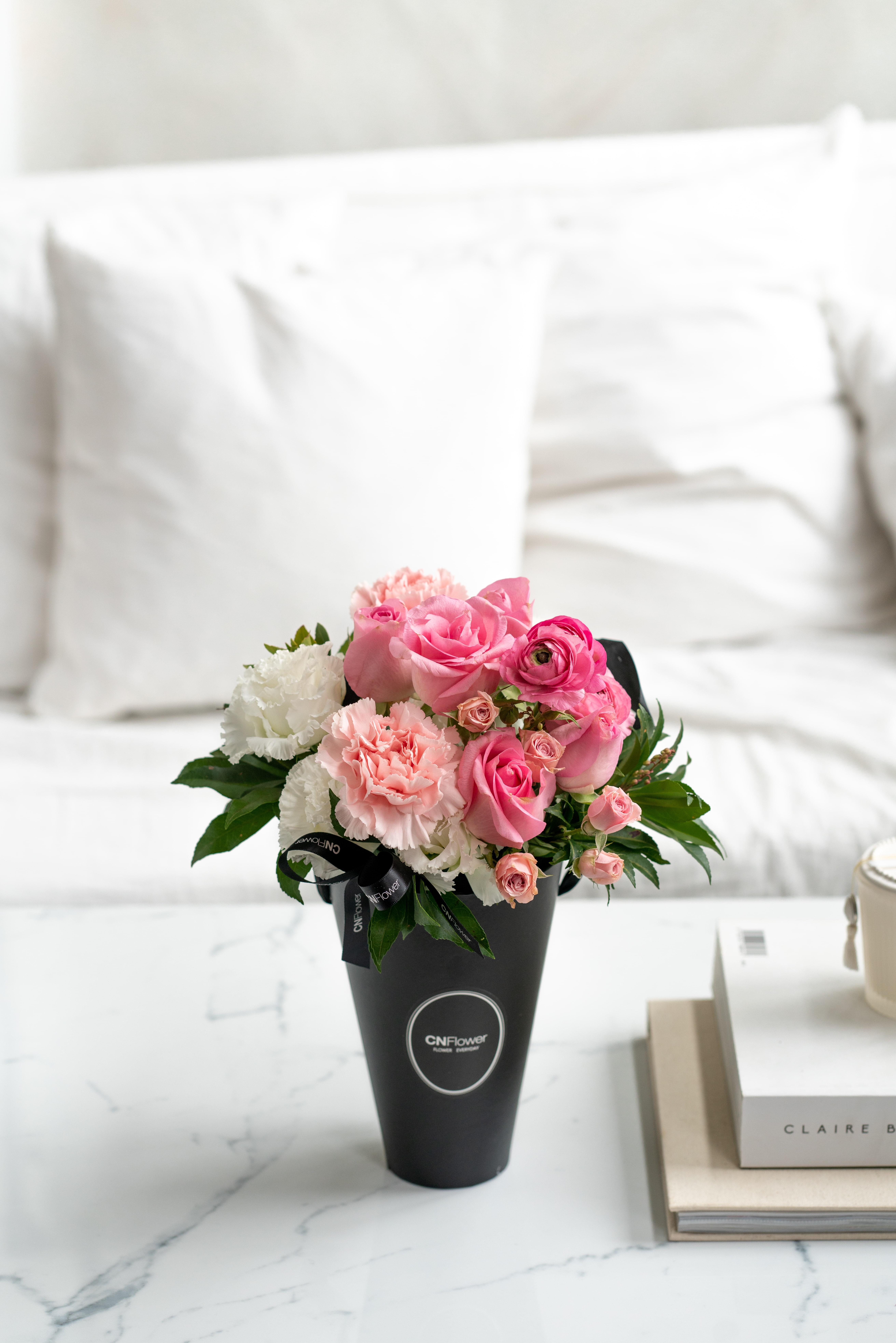 CNFlower 心動告白-CN黑色錐形提把花盒