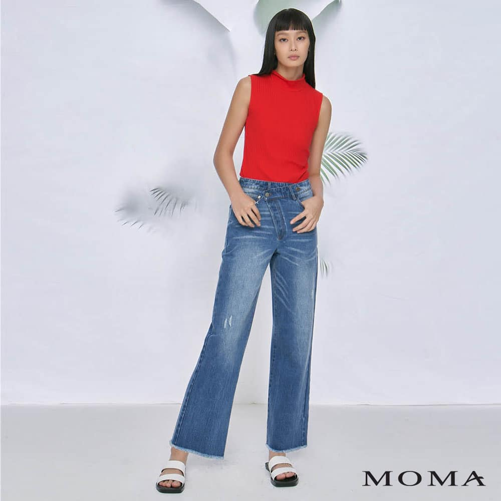 MOMA(02P112)個性不對稱直筒褲