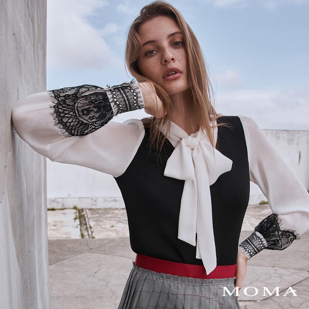 MOMA(02KM65)異素材拼接針織上衣-剩餘34號