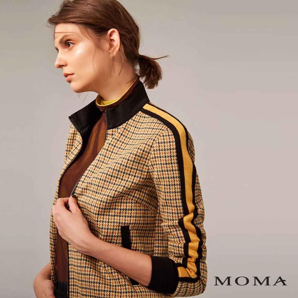 MOMA(02J004)格紋休閒邊飾外套
