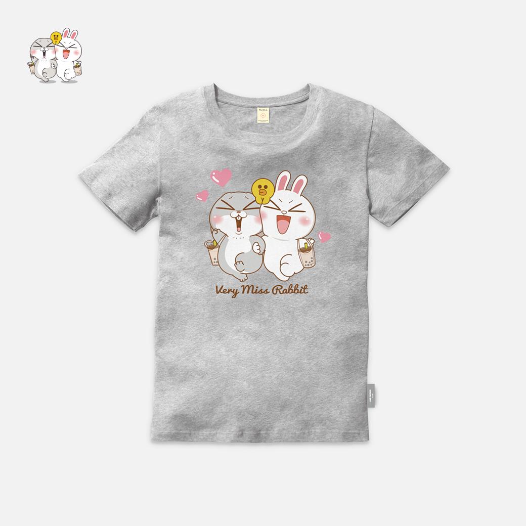 LINE十週年_好想兔 X BROWN&FRIENDS-最喜歡珍奶了 T恤-灰