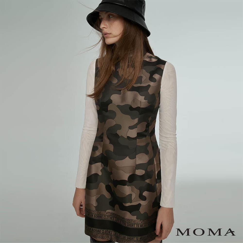 MOMA(02D063)迷彩小立領削肩洋裝