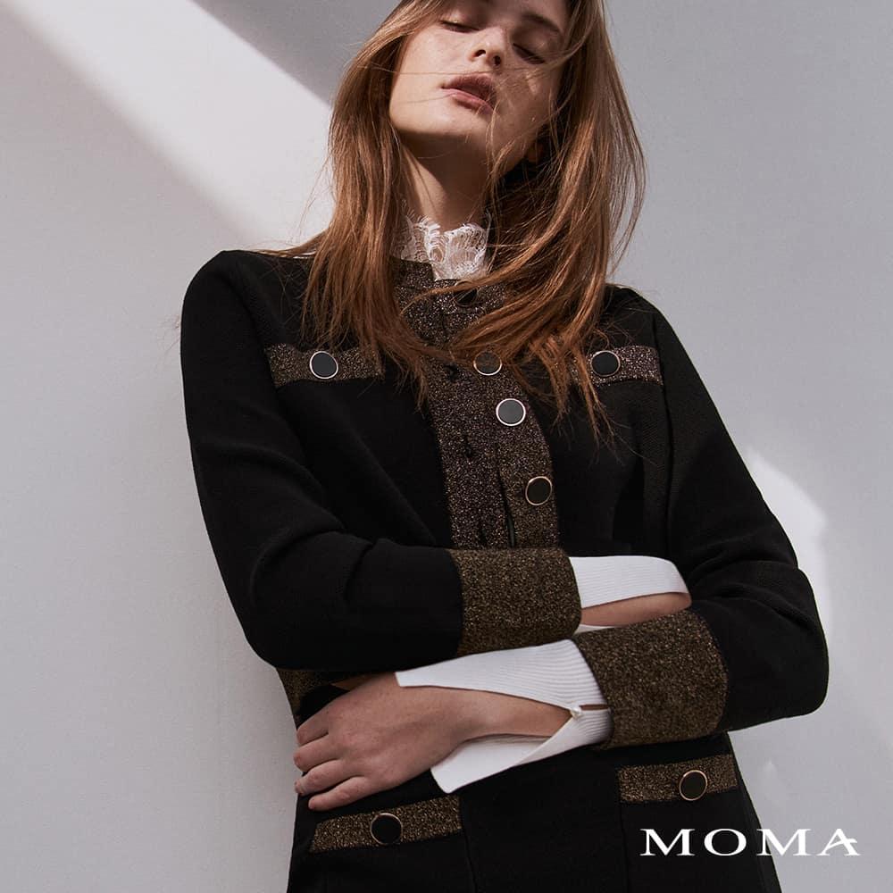 MOMA(02KJ30)小香風金蔥針織外套