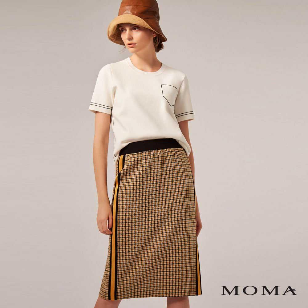 MOMA(02S004)格紋休閒邊飾中長裙