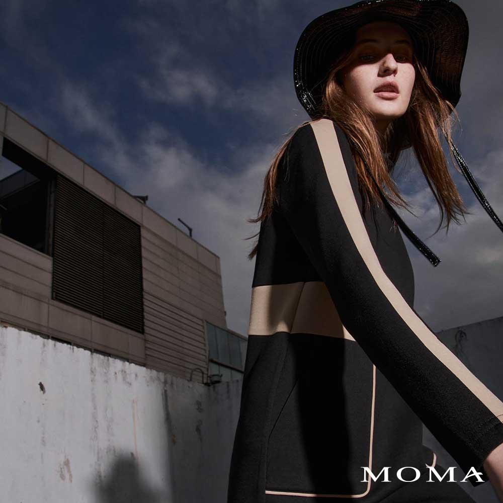 MOMA(02D059)立領空氣棉配色洋裝