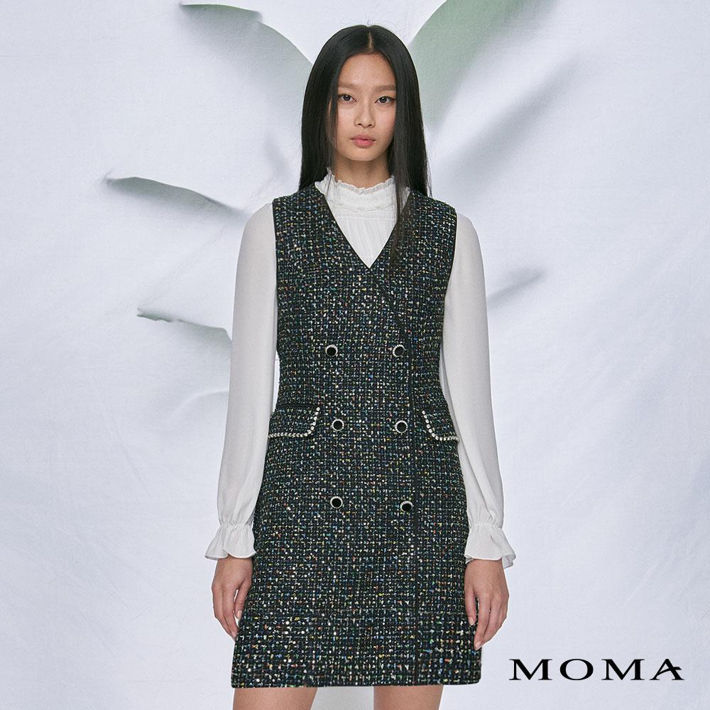 MOMA(02D057)小香風V領背心洋裝