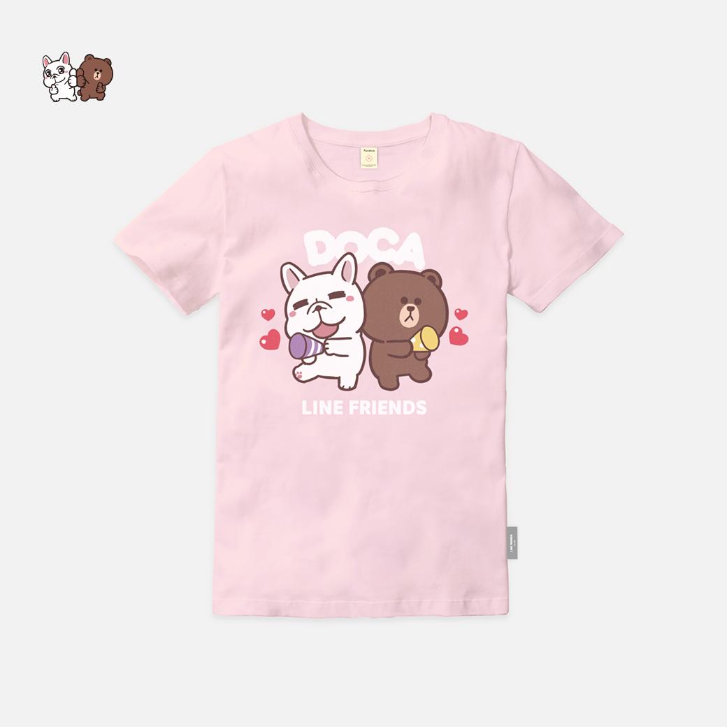 LINE十週年_可布魯的豆卡頻道 X BROWN&FRIENDS-茶包與熊大 T恤_粉紅