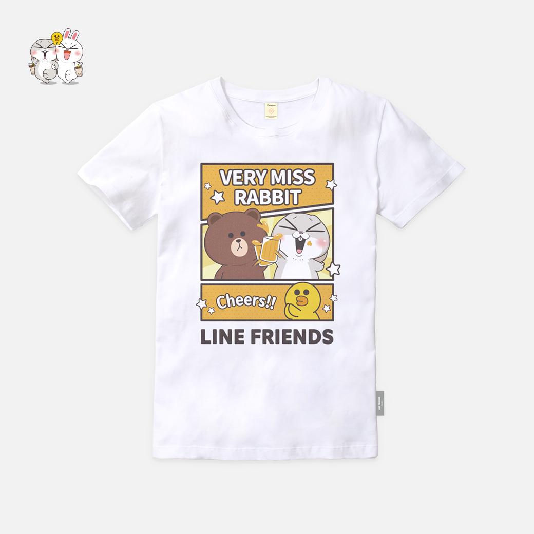 LINE十週年_好想兔 X BROWN&FRIENDS-Cheers T恤-白