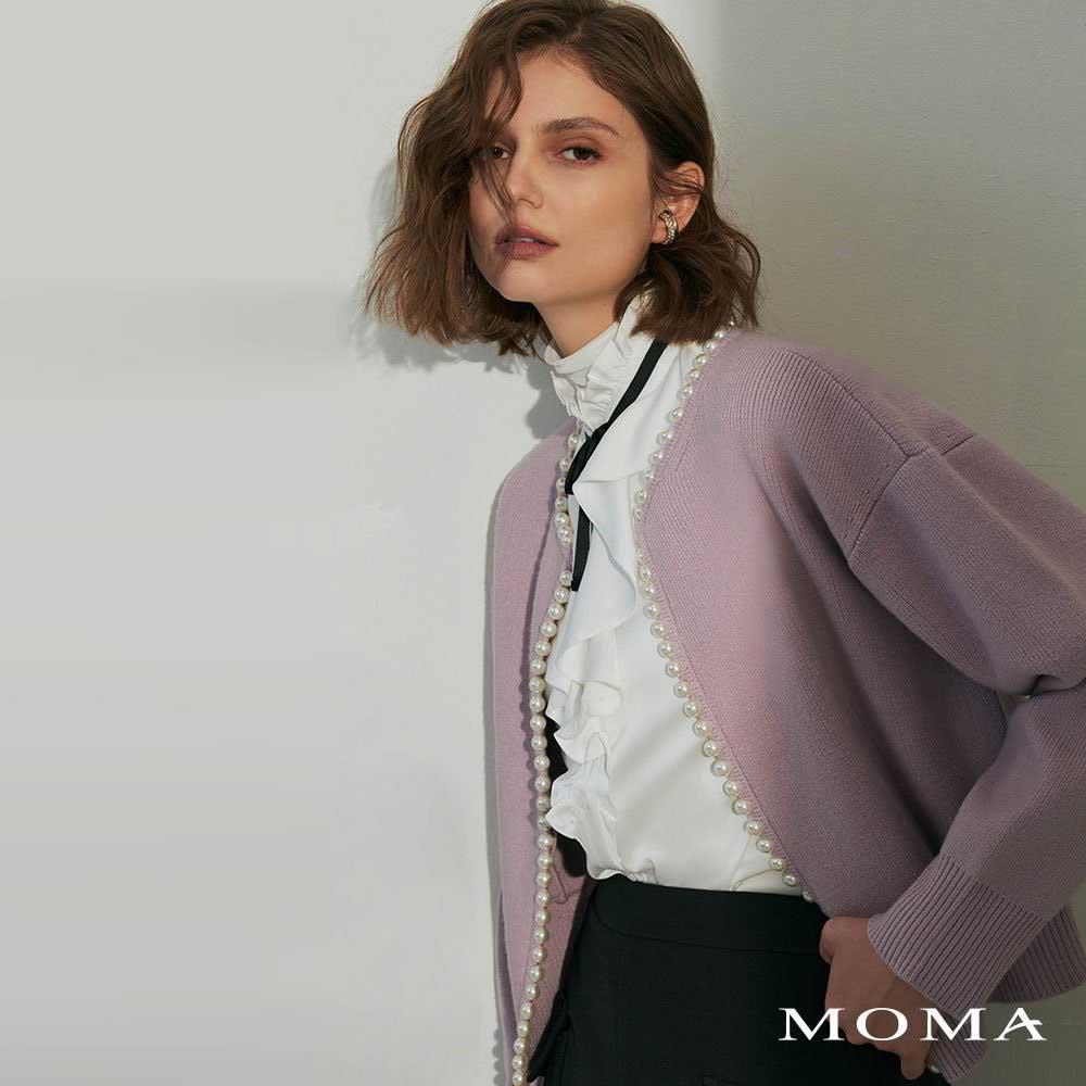 MOMA(02KJ16)輕奢珍珠毛織外套