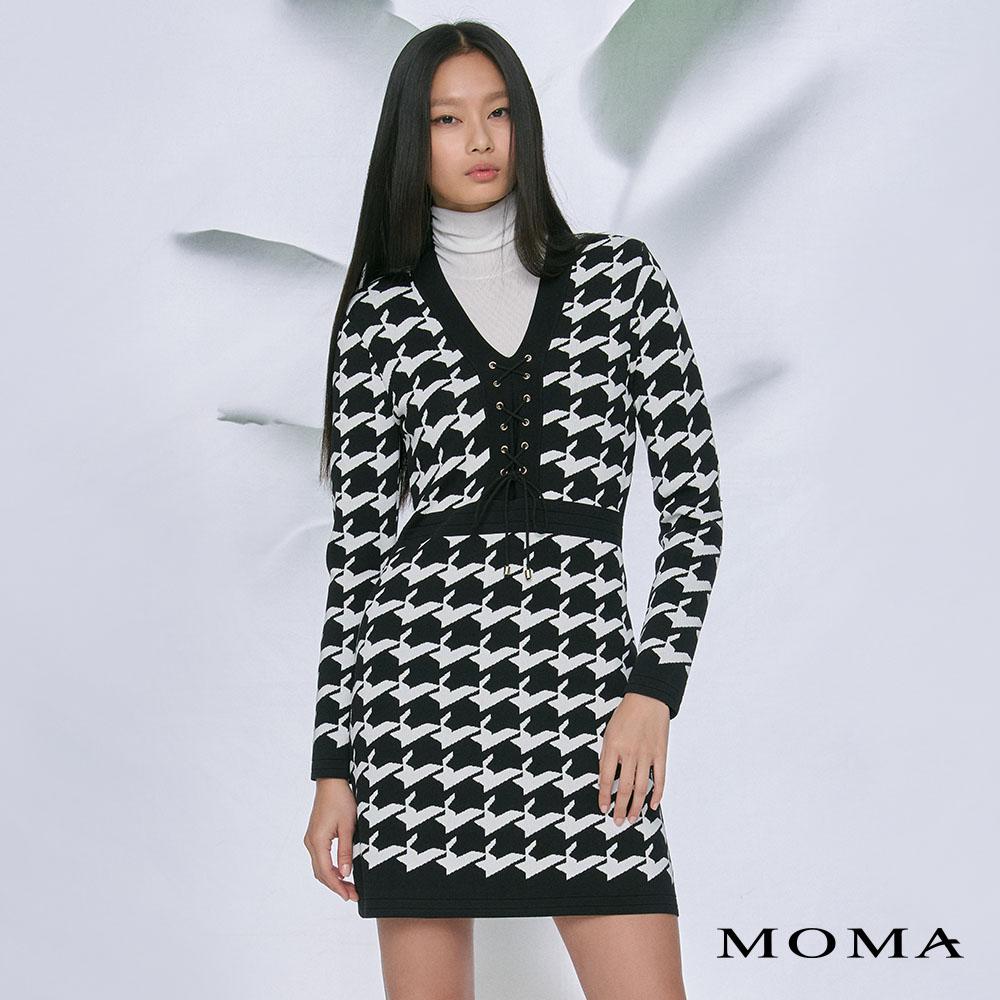 MOMA(02KD05)前綁帶針織洋裝