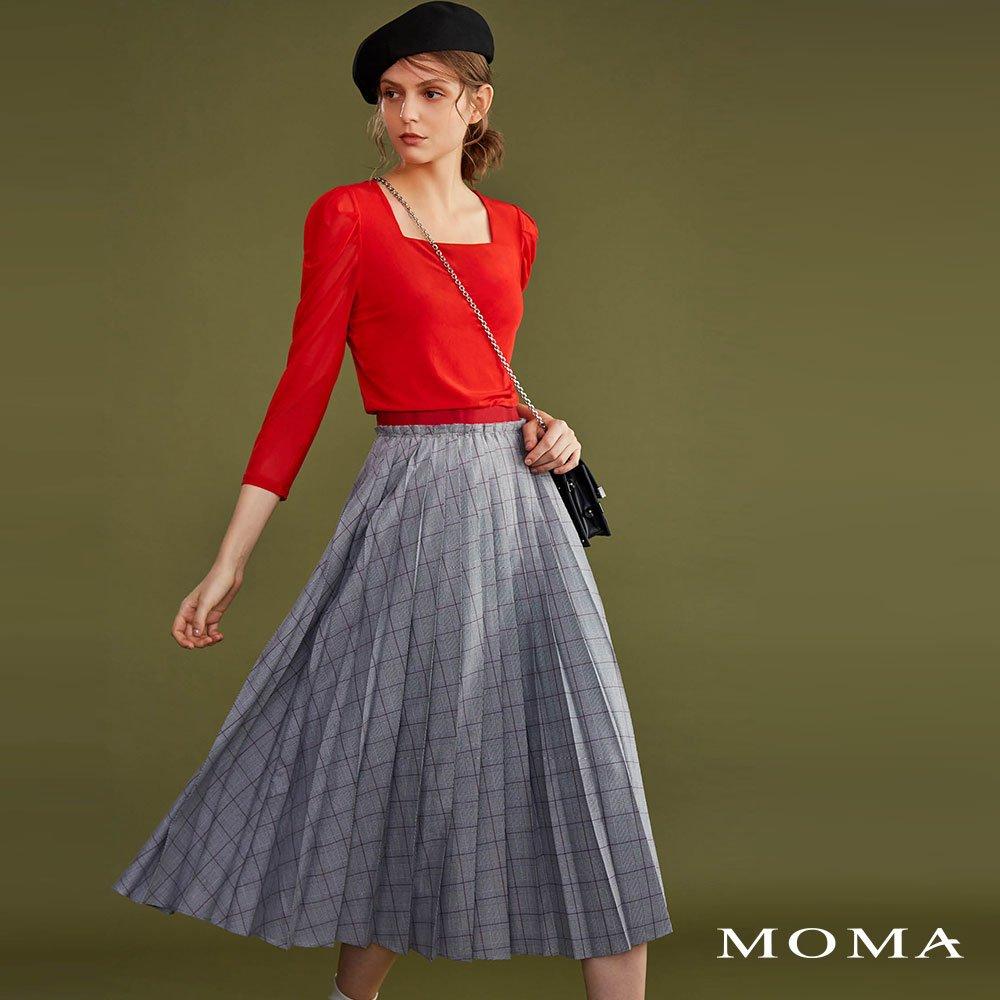 MOMA(02S007)格紋百摺長裙