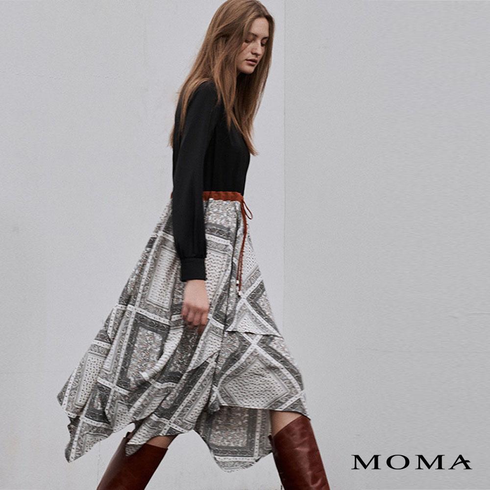MOMA(02D070)飄逸印花拼接洋裝