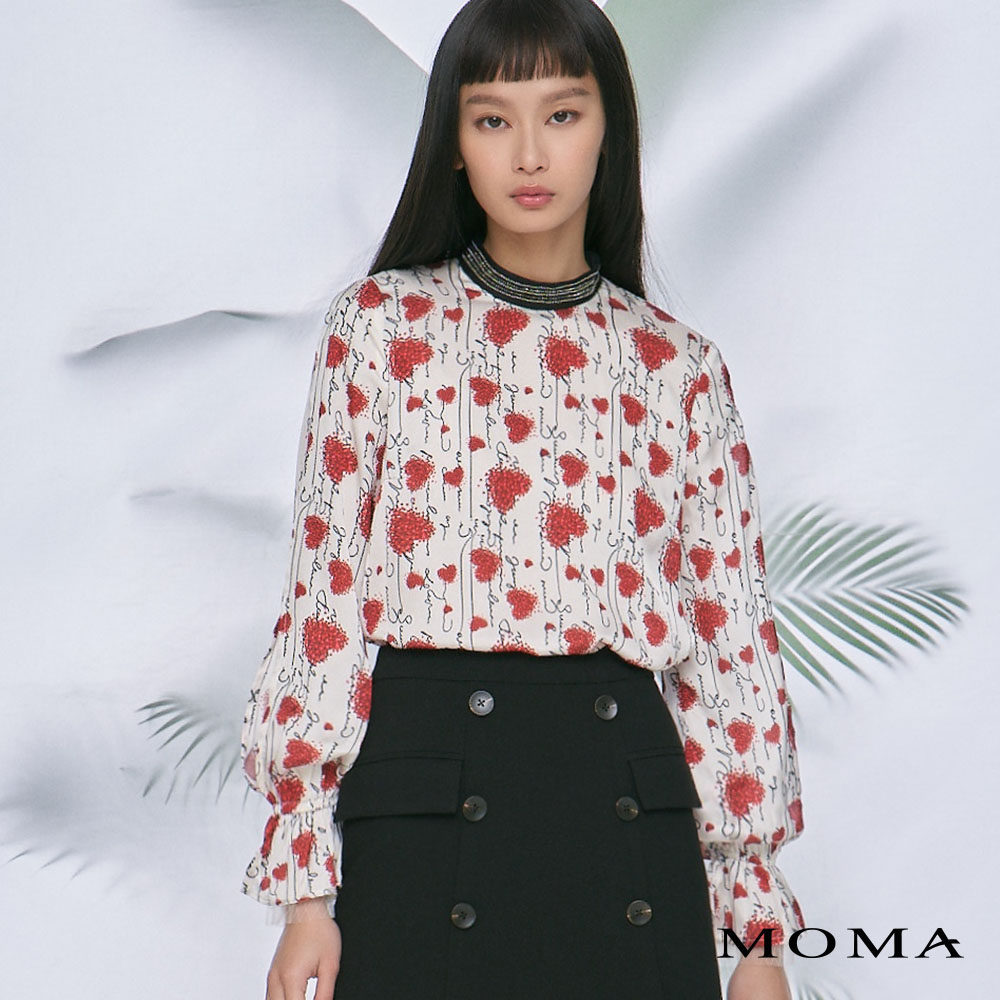 MOMA(02G089)雙層袖愛心印花上衣