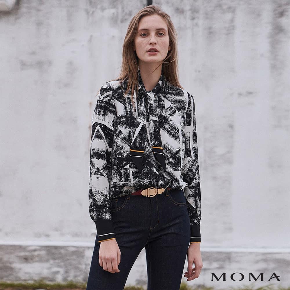 MOMA(02G084)印染感領結上衣