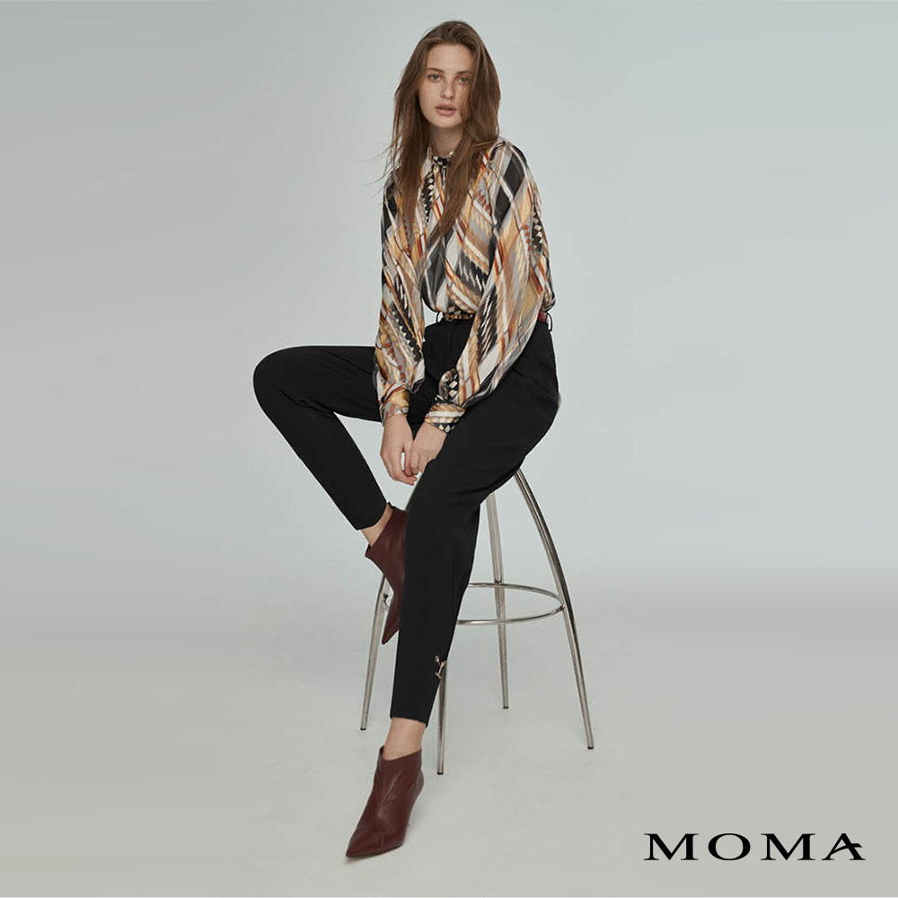 MOMA(02P110)褲口金鍊點綴老爺褲