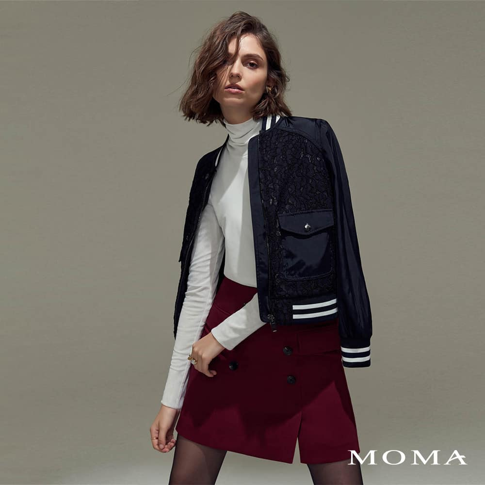 MOMA(02S059)雙排釦裝飾A字短裙