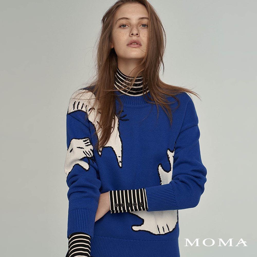 MOMA(02KM47)抽象貓咪毛織上衣