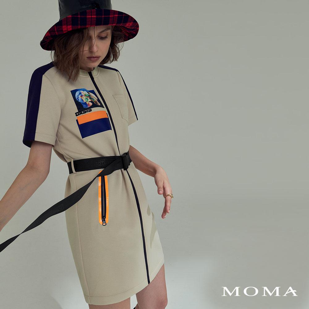 MOMA(02D046)太空棉個性印花洋裝