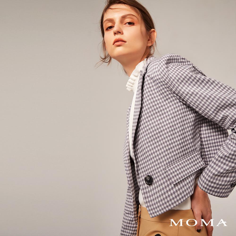 MOMA(02J058)格紋短版西裝外套