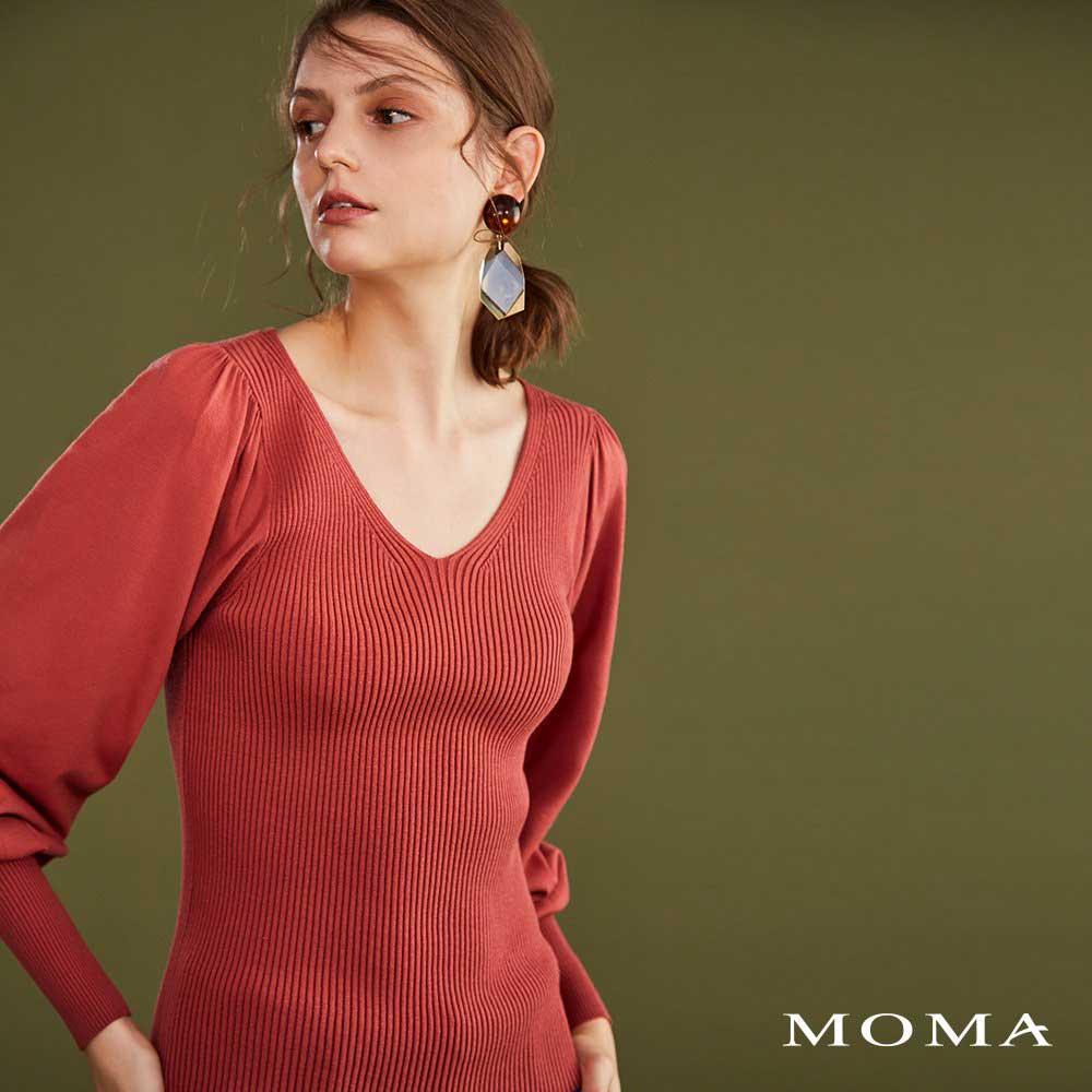 MOMA(02KM33)泡袖坑條毛織上衣-剩餘38號