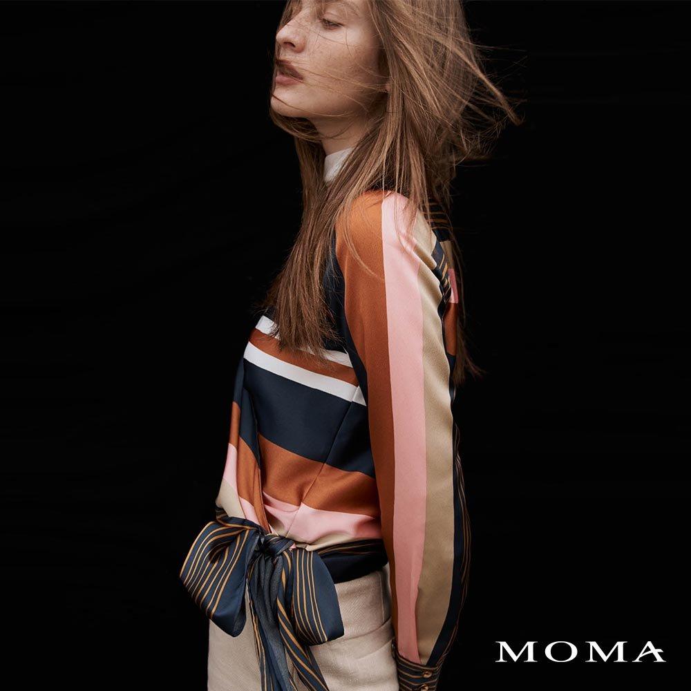 MOMA(02G074)配色條紋結飾上衣-剩餘34號