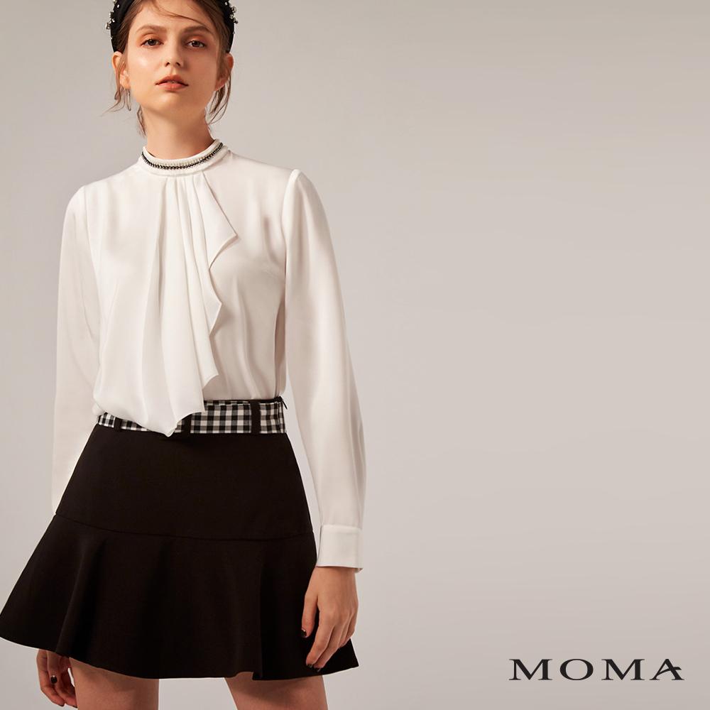 MOMA(02S049)格紋腰帶荷葉短裙