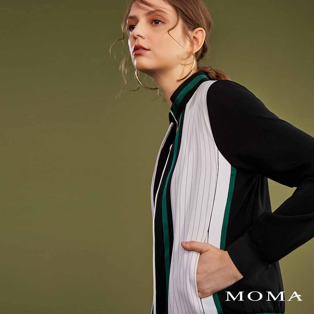 MOMA(02J006)運動緞面飾邊外套