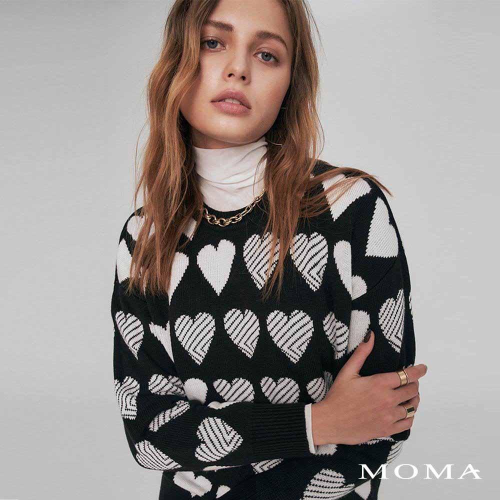 MOMA(02KM05)愛心提花毛織上衣