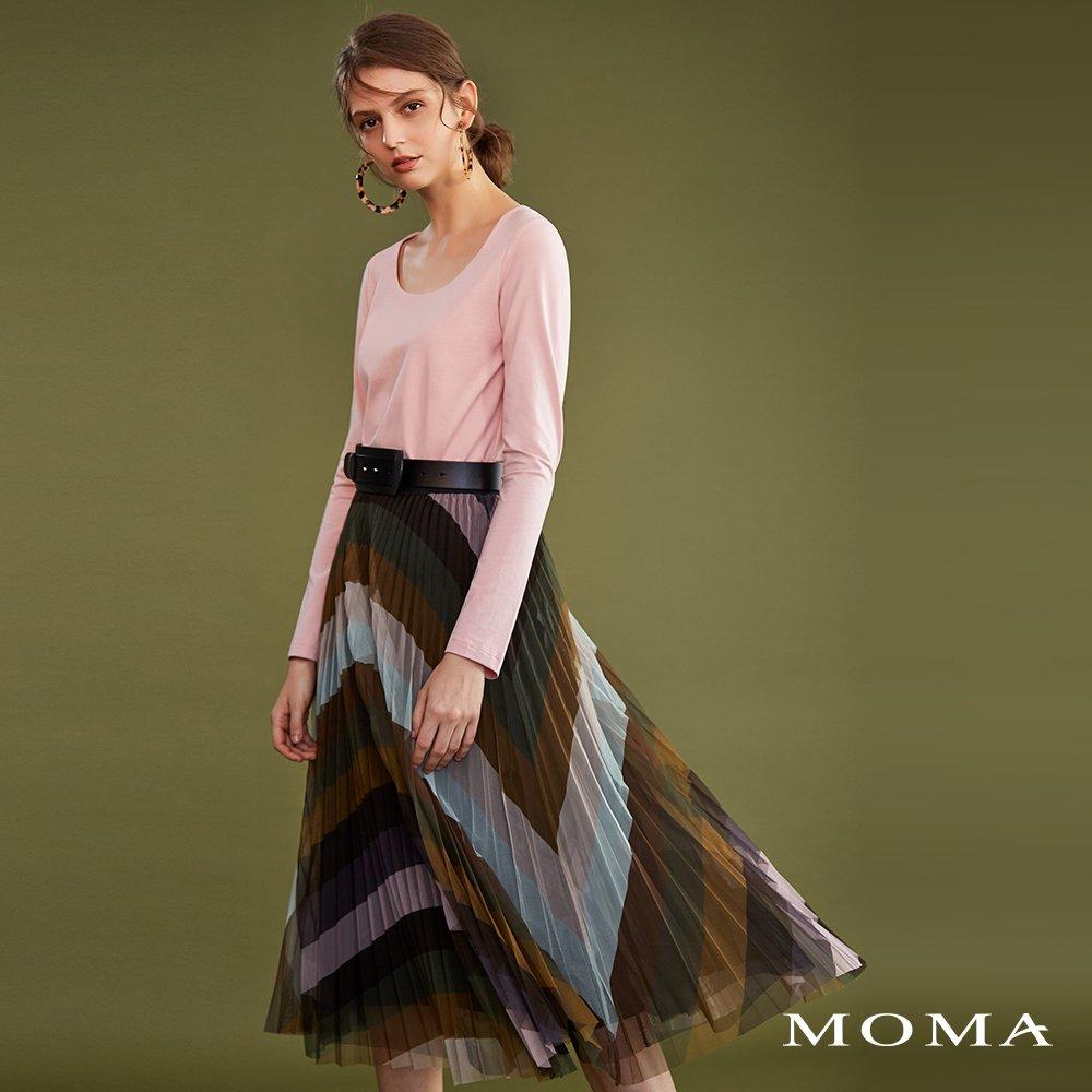 MOMA(02S052)漸層多彩壓褶裙-剩餘38號