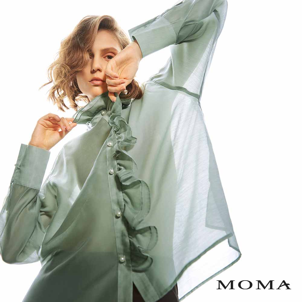 MOMA(02G038)珍珠荷葉領上衣