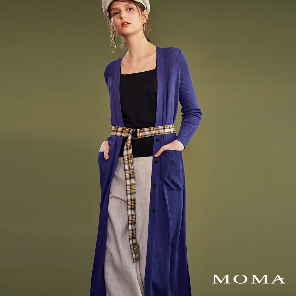 MOMA(02KJ18)坑條長版針織外套