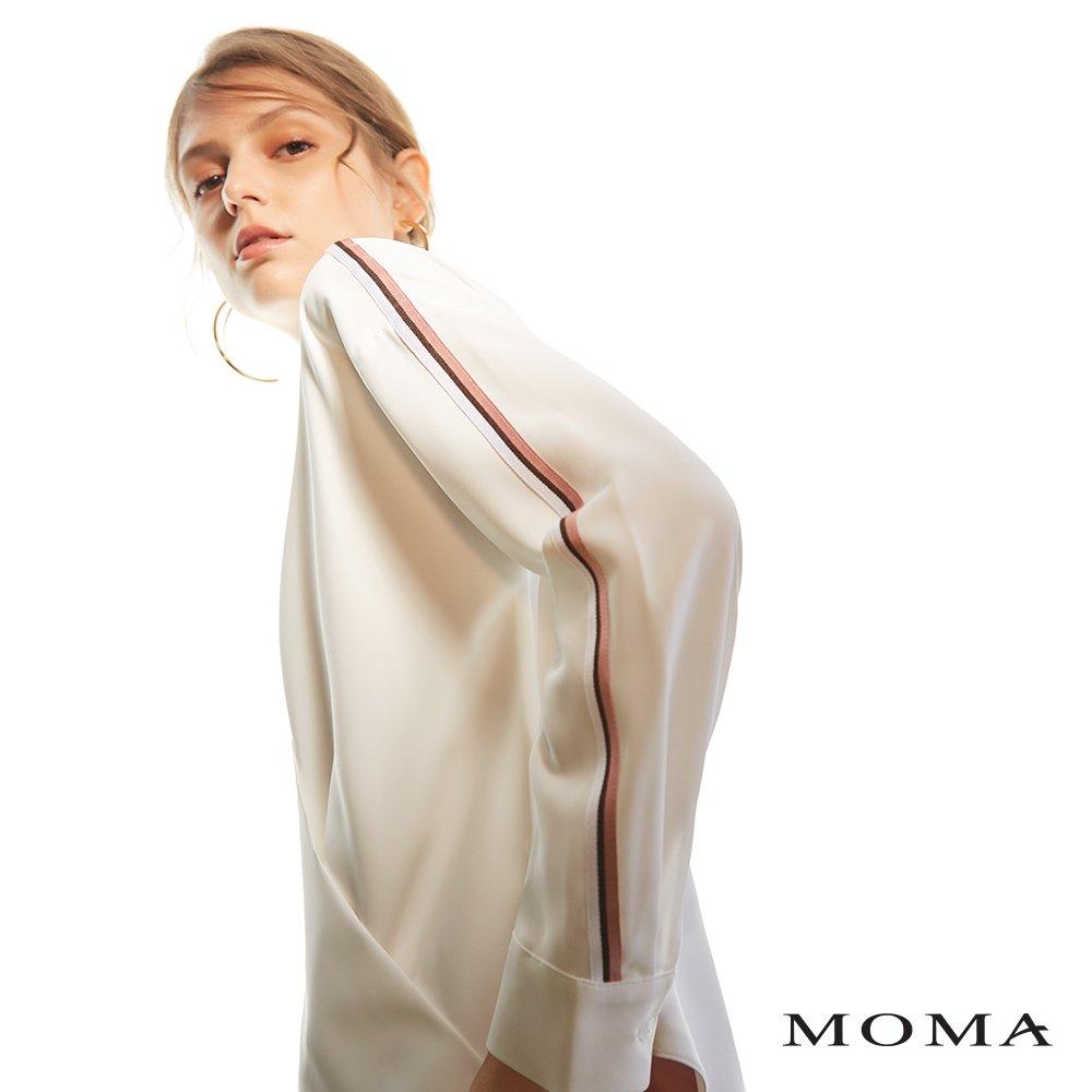 MOMA(02G041)配色織帶交疊式上衣