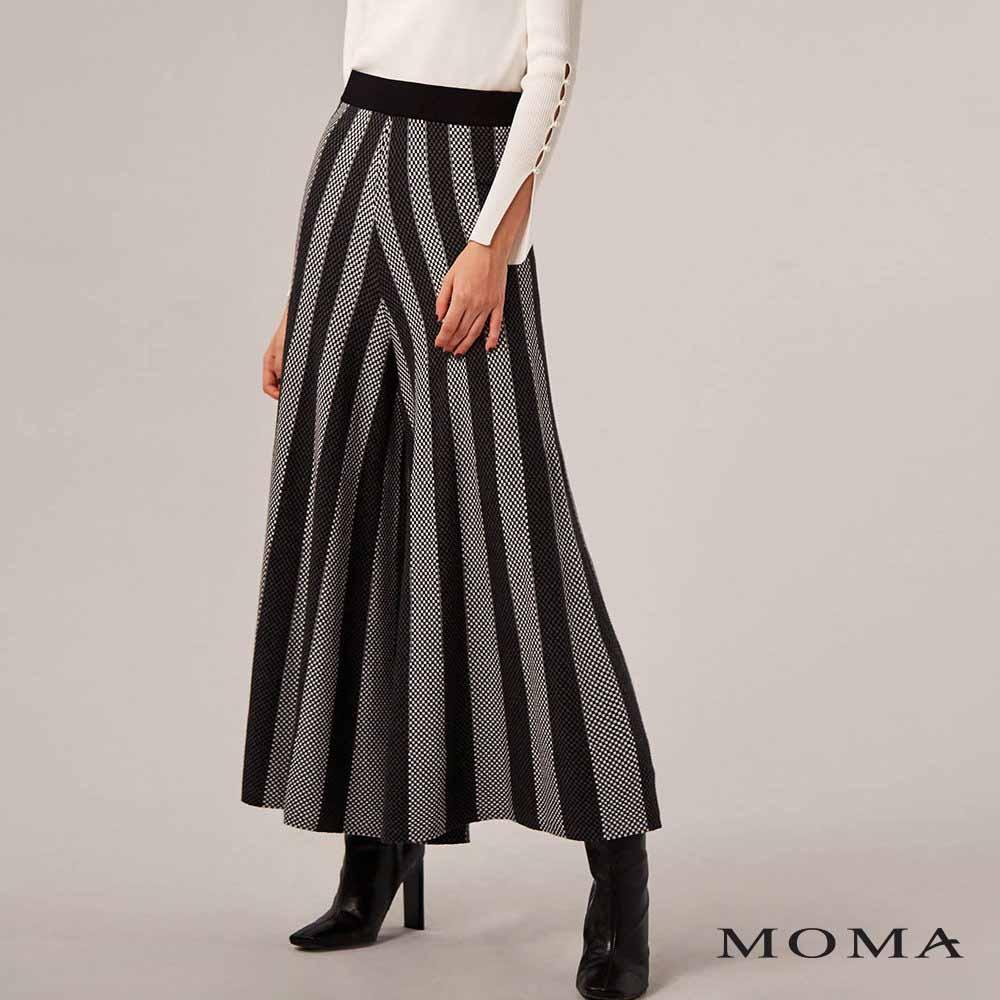 MOMA(02P005)條紋闊腿針織裙褲