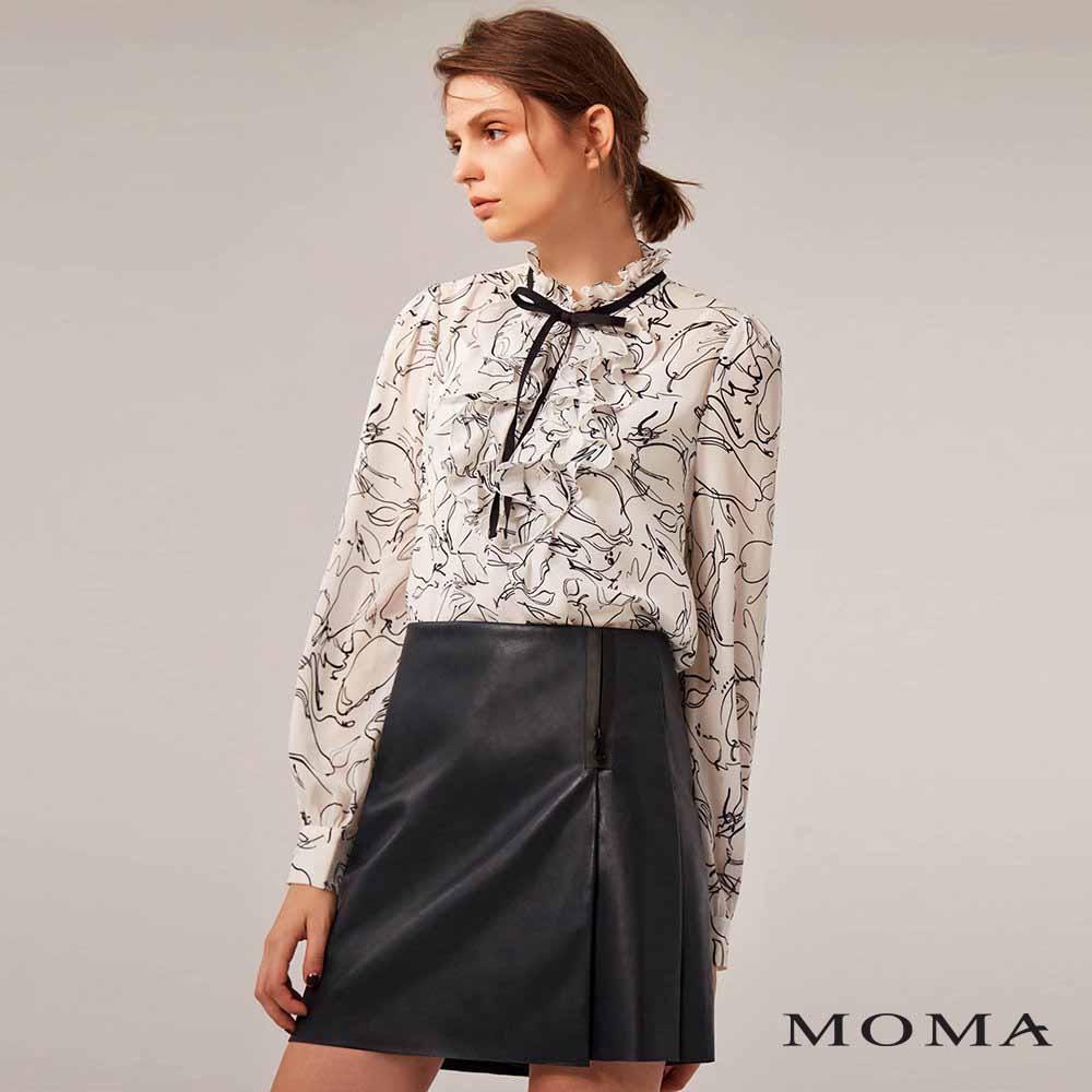 MOMA(02P071)人造皮革一片式裙褲